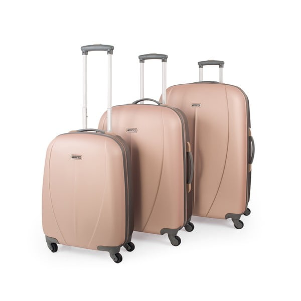 Sada 3 kufrov Tempo, zlatohnedá