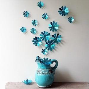 Sada 12 modrých adhezívnych 3D samolepiek Ambiance Flowers Chic Blue