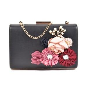 Čierna listová kabelka s ružovými kvetmi Sofia Cardoni