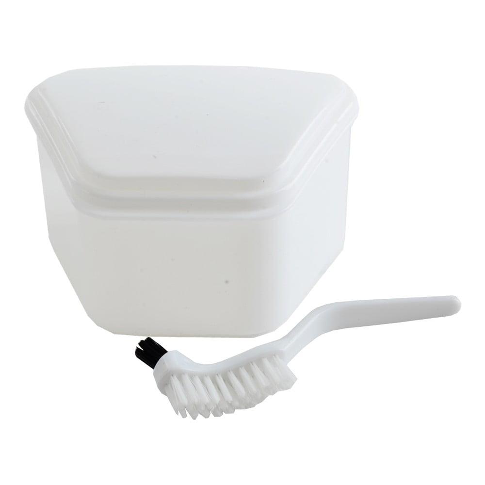 Uzatvárateľný box na zubnú protézu s kefkou Orion