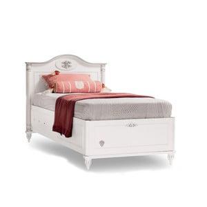Biela jednolôžková posteľ s úložným priestorom Romantica Bed With Base, 90 × 190 cm