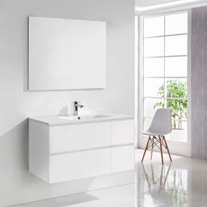 Kúpeľňová skrinka s umývadlom a zrkadlom Capri, odtieň bielej, 100 cm