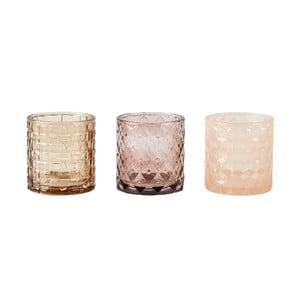 Sada 3 krémových svietnikov na čajovú sviečku KJ Collection Glass, 7 x 7,5 cm