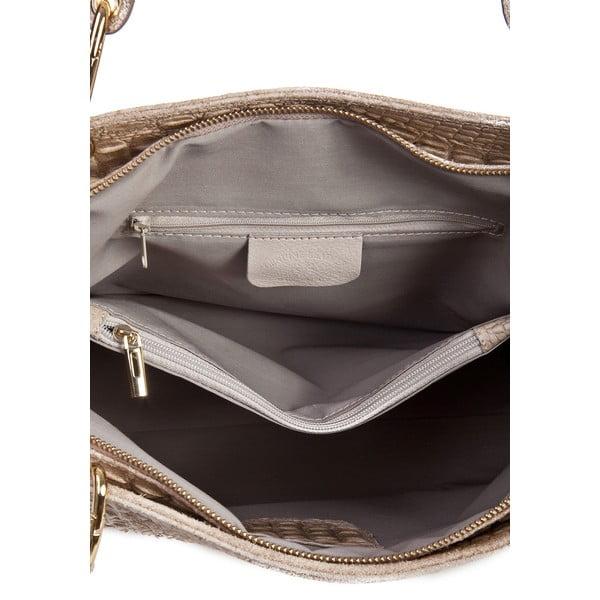 Hnedosivá kožená kabelka Massimo Castelli Ravenna