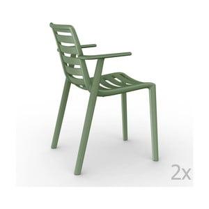 Sada 2 zelených záhradných stoličiek sopierkami Resol Slatkat