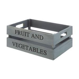 Sivý drevený úložný box Premier Housewares Tropical, 25×35 cm