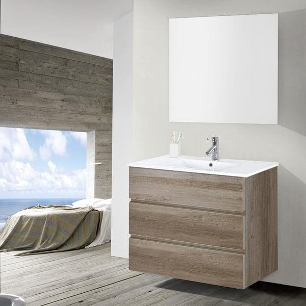 Kúpeľňová skrinka s umývadlom a zrkadlom Nayade, dekor dubu, 90 cm