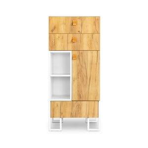 Komoda s 3 zásuvkami z dubového dreva Skandica Hesse, výška 135 cm