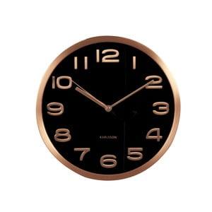 Čierne hodiny Present Time Maxie Copper