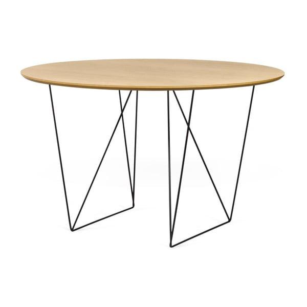 Jedálenský stôl v dekore dubového dreva s čiernou podnožou TemaHome Row, Ø120cm