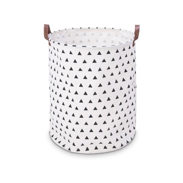 Biely úložný košík KICOTI Triangles, ø 40 cm