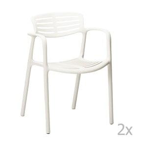 Sada 4 bielych záhradných stoličiek sopierkami Resol Toledo Aire