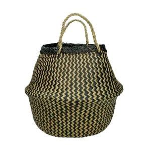 Čierno-hnedý ručne pletený kôš z morskej trávy HF Living, ⌀ 35 cm