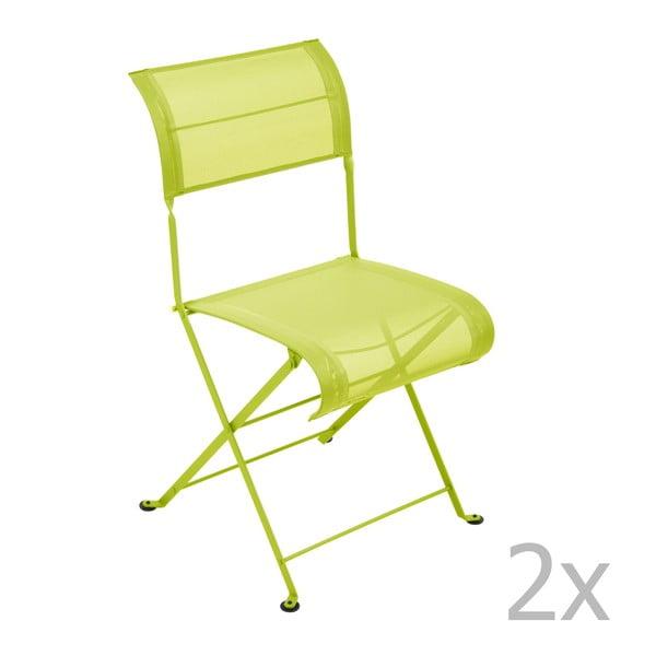 Sada 2 limetkovozelených skladacích stoličiek Fermob Dune