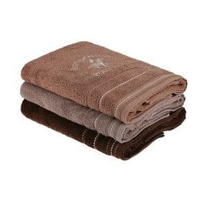 Sada 3 hnedých bavlnených uterákov, 140 x 70 cm
