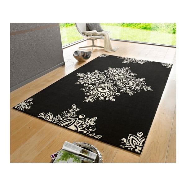 Čierno-biely koberec Hanse Home Gloria Blossom, 80 x 150 cm