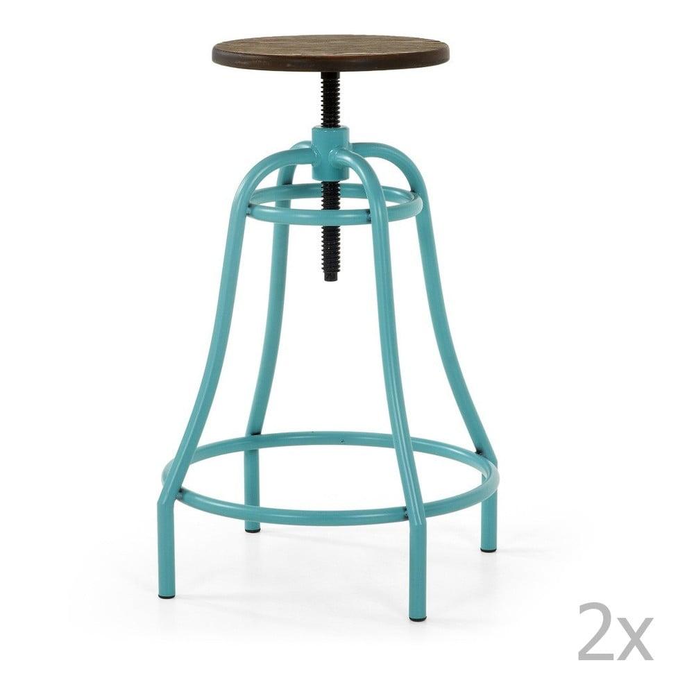 Sada 2 barových stoliček s tyrkysovou podnožou La Forma Malibu