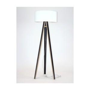 Čierna stojacia lampa s bielym tienidloma transparentným káblom Ragaba Wanda