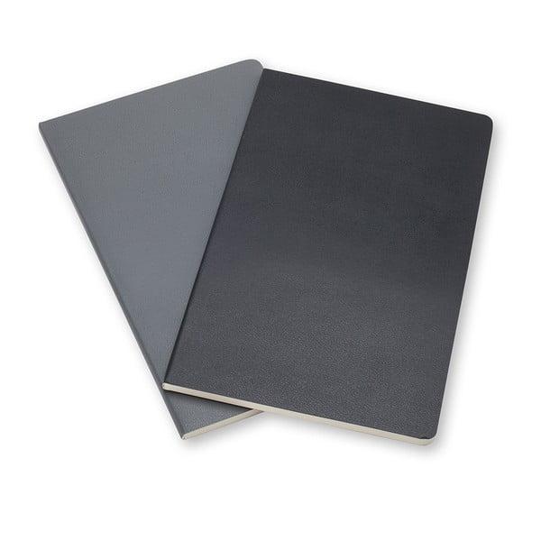 Sada 2 notesov Moleskine Slate Grey, linkované 13x21 cm