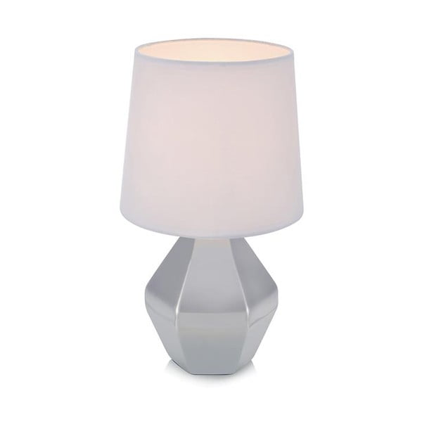 Strieborná stolová lampa s bielym tienidlom Markslöjd Ruby