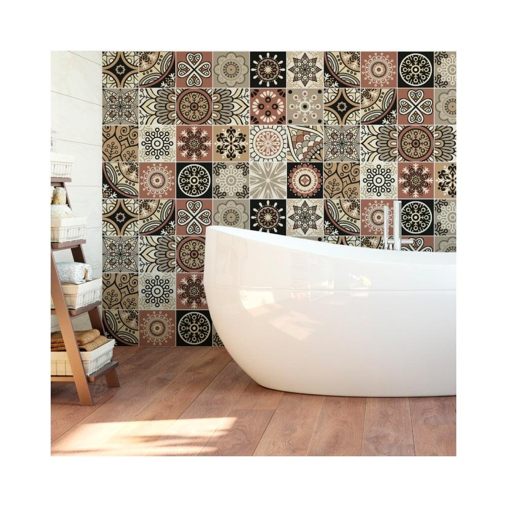 Sada 24 nástenných samolepiek Ambiance Wall Stickers Tiles Piura, 15 × 15 cm