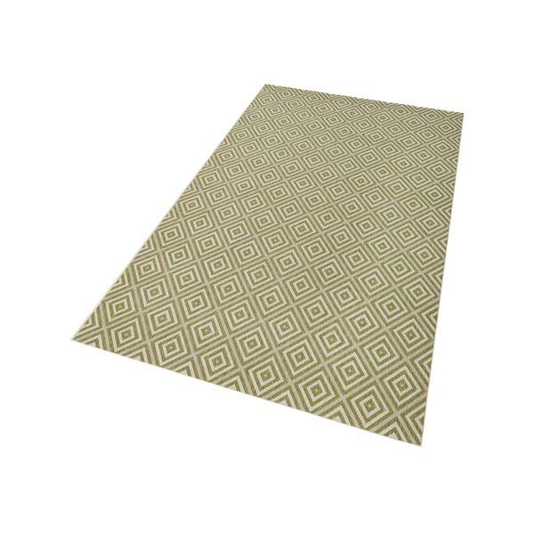 Zelený koberec vhodný aj do exteriéru Karo, 140×200 cm
