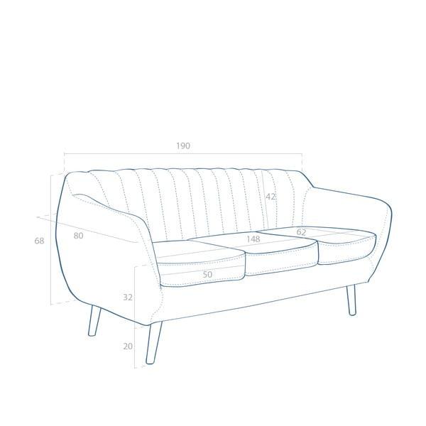 Pohovka pre dvoch Omnia Grey, biele nohy