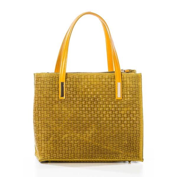 Žltá kožená kabelka Federica Bassi Matar