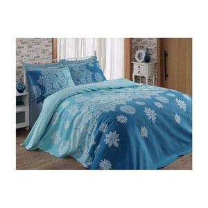 Modrá prikrývka cez posteľ  Adla, 200 x 235 cm