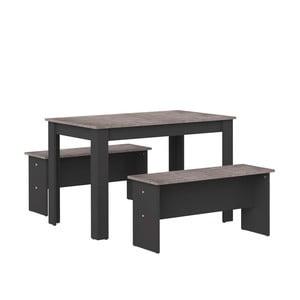 Set čierneho jedálenského stola a 2 lavíc s doskou v dekore betónu TemaHome Nice