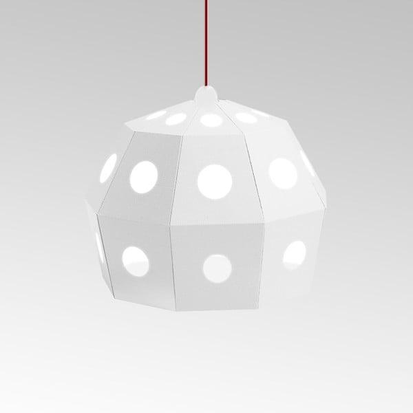 Kartónové svietidlo Uno Fantasia B White, s červeným káblom