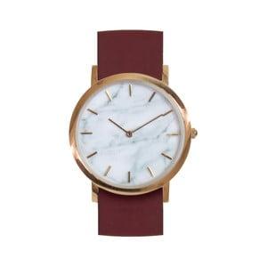 Biele mramorové hodinky s červeným remienkom Analog Watch Co. Classic