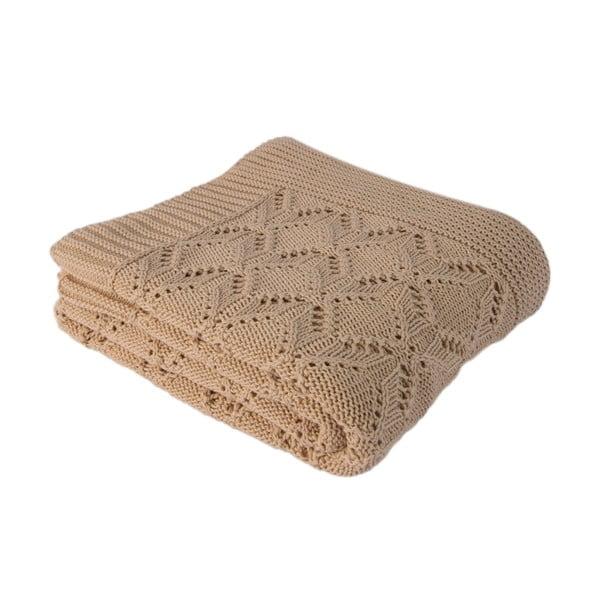 Svetlobéžová bavlnená deka Cotton, 170×130cm