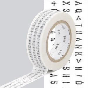 Čierno-biela washi páska MT Masking Tape Lettres