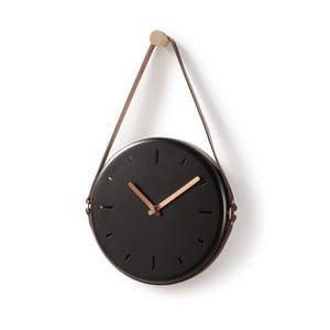 Čierne nástenné hodiny La Forma Wolly