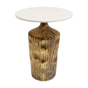 Odkladací stolík s prírodnou mramorovou doskou Kare Design Riffle, ⌀ 46 cm