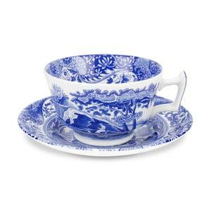 Sada 4 bielo-modrých šálok s tanierikom Spode Blue Italian, 200 ml