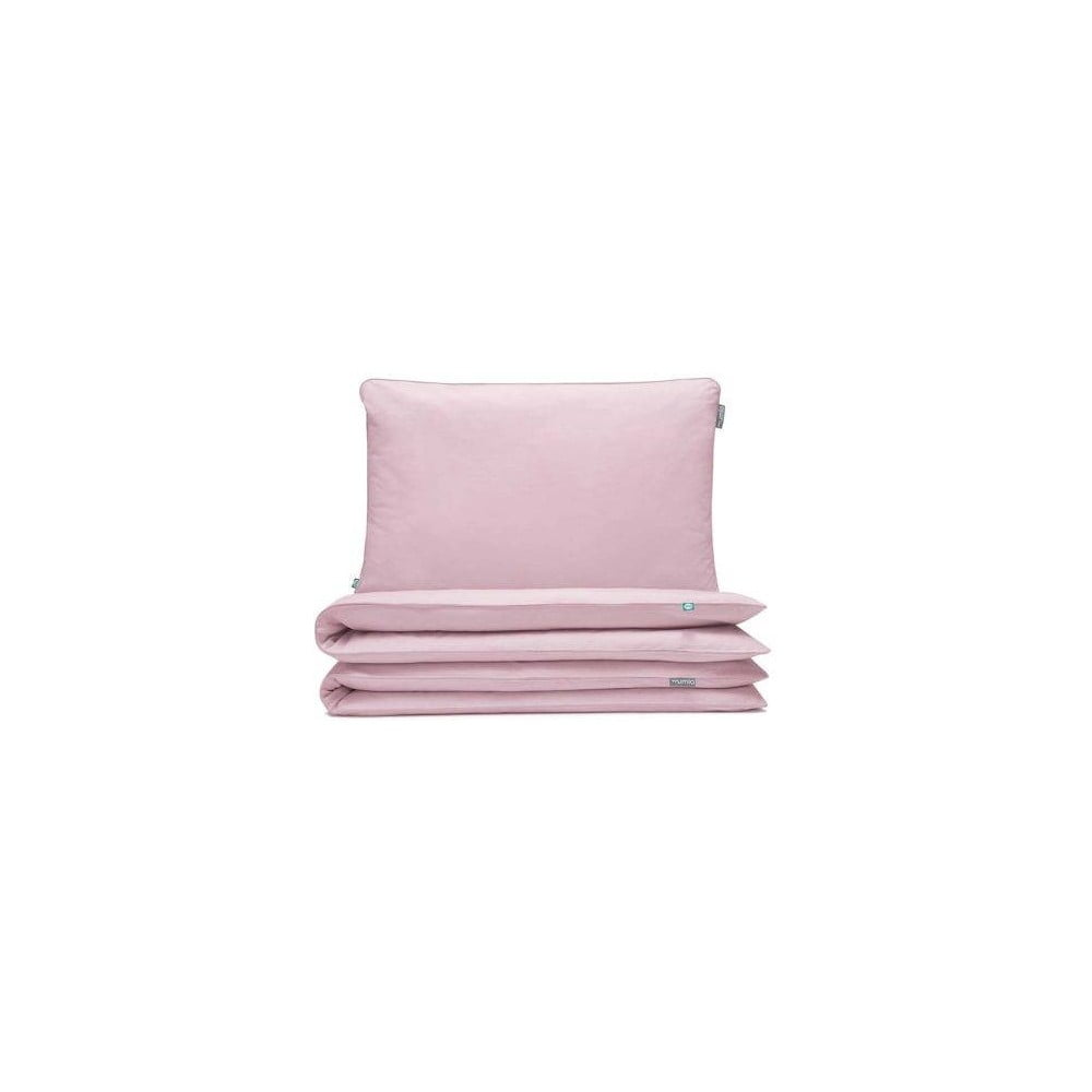 Svetloružové detské bavlnené posteľné obliečky hundre, 90 × 120 cm