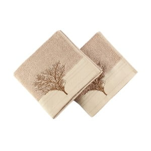 Sada 2 svetlohnedých bavlnených uterákov Infinity, 50 × 90 cm