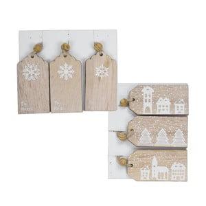 Sada 6 drevených vianočných visačiek na darčeky Ego Dekor Wooden Christmas