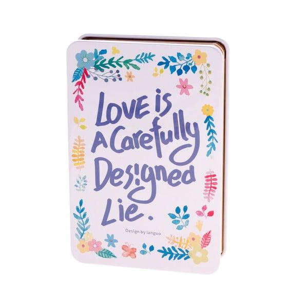 Plechový zápisník Languo Love, bielo-modrý