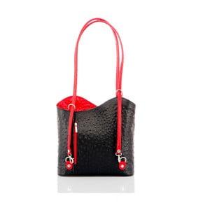 Čierna kožená kabelka s detailmi v červenej farbe Glorious Black Parry