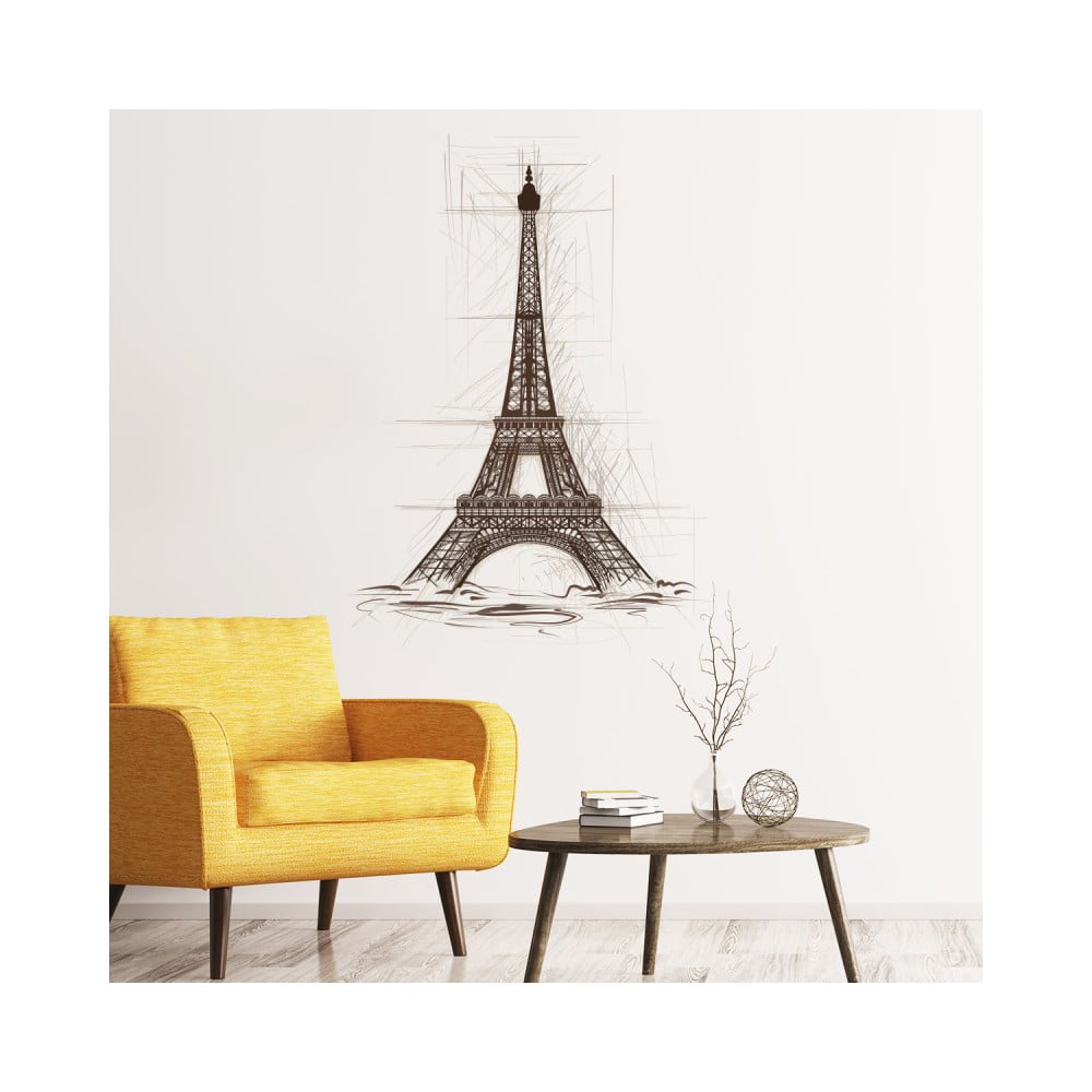 Nástenná samolepka Ambiance Wall Decal Eiffel Tower Drawing, 55 × 40 cm