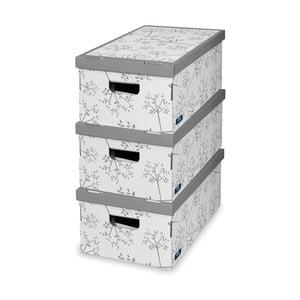 Sada 3 bielo-sivých úložných krabíc Domopak