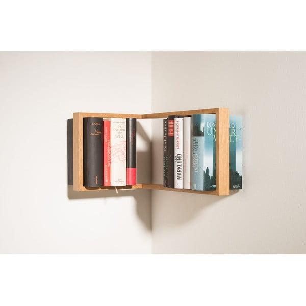Rohová polica na knihy z dubového dreva das kleine b b1, výška 22 cm