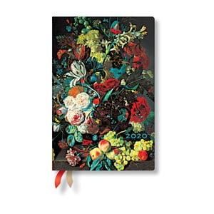 Viacfarebný diár na rok 2020 v tvrdej väzbe Paperblanks Van Huysum, 160 strán