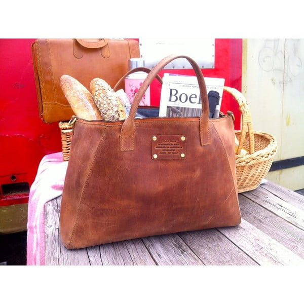 Hnedá kožená kabelka O My Bag Fly Violet Maxi