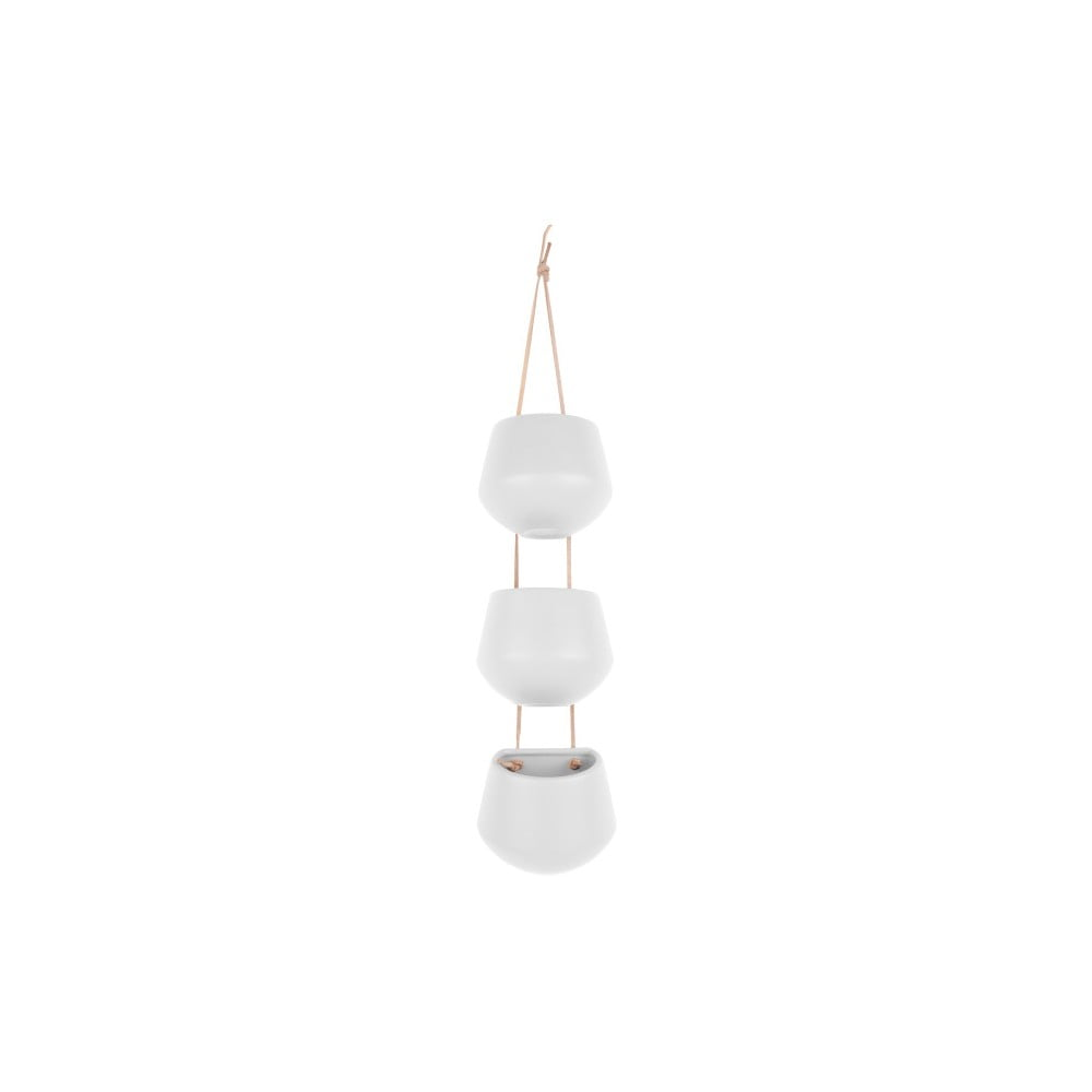 Matne biele trojité závesné keramické kvetináče PT LIVING Skittle Triple