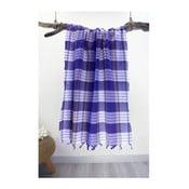 Modrá károvaná osuška Hammam Traditional Style, 80 x 175 cm
