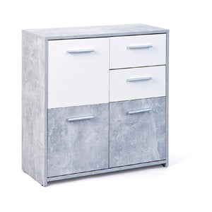 Bielo-sivá komoda s 2 zásuvkami Evergreen Hous Matt